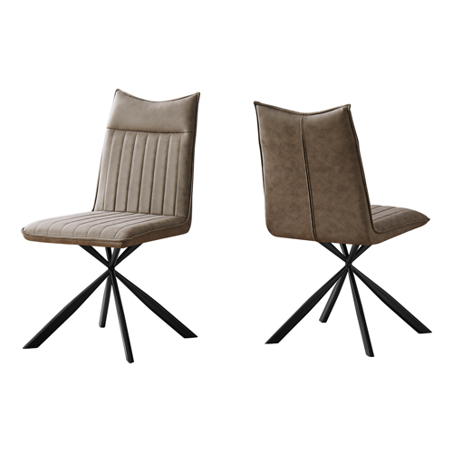 "DINING CHAIR - 2PCS / 36""H / TAUPE FABRIC / BLACK METAL"