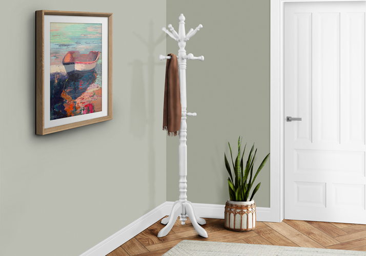 "73"" Traditional Rubber Wood Coat Rack, Antique White"