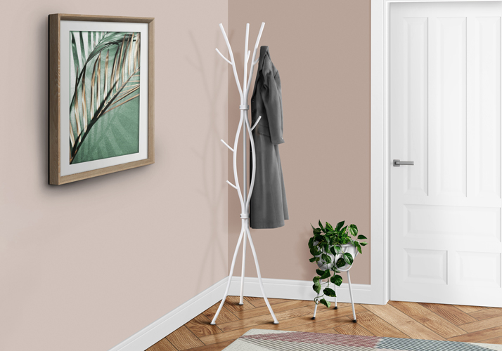 "74"" Unique Branch Inspired Metal Coat Rack, Modern White"