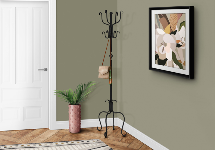 "74"" Traditional Metal Coat Rack, Hammered Black"
