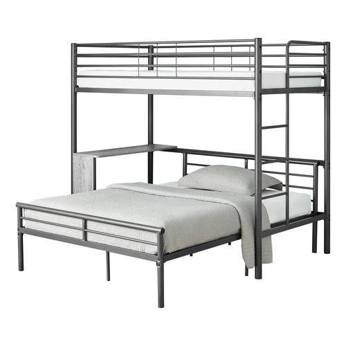 BUNK BED - TWIN / FULL SIZE - GREY DESK / GREY METAL