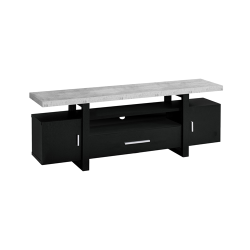 "TV STAND - 60""L / BLACK / CEMENT-LOOK TOP"
