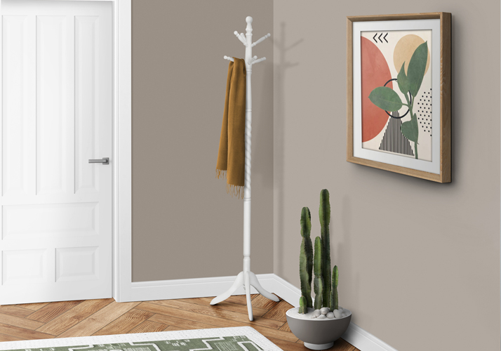 "72"" Traditional Solid Wood Coat Rack, Antique White"
