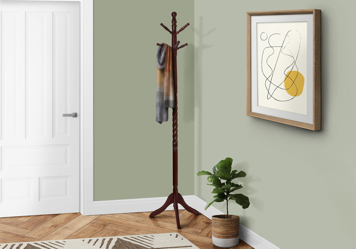 "72"" Traditional Solid Wood Coat Rack, Cherry"