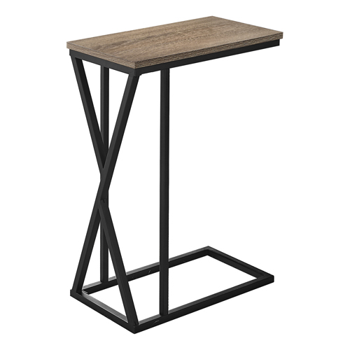 """ACCENT TABLE - 25""""H / DARK TAUPE / BLACK METAL"""