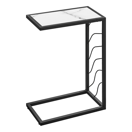 """ACCENT TABLE - 25""""H / WHITE MARBLE-LOOK / BLACK METAL"""