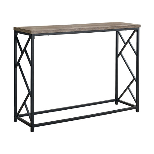 "ACCENT TABLE - 44""L / TAUPE / BLACK METAL HALL CONSOLE"