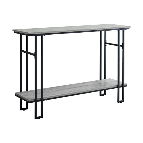 """ACCENT TABLE - 48""""L / GREY / BLACK METAL HALL CONSOLE"""