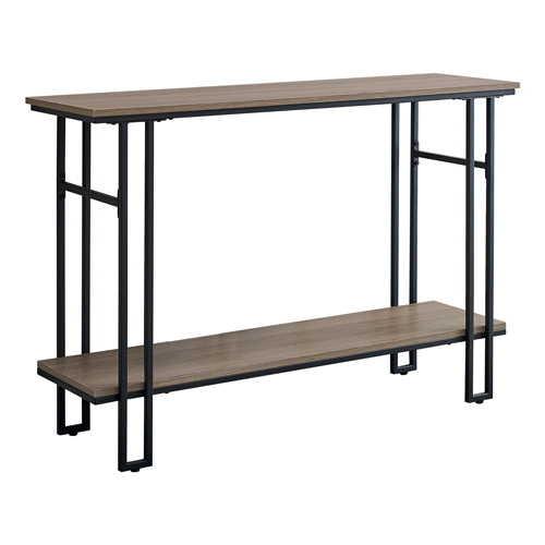 "ACCENT TABLE - 48""L / TAUPE / BLACK METAL HALL CONSOLE"