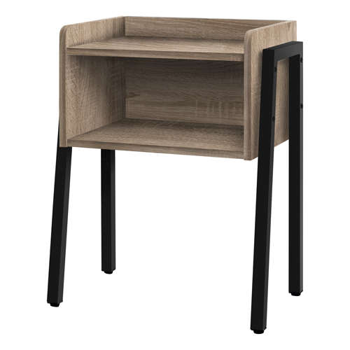 "ACCENT TABLE - 23""H / DARK TAUPE / BLACK METAL"