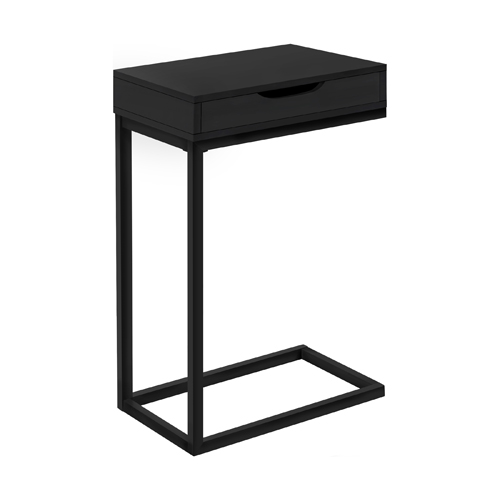 ACCENT TABLE - BLACK / BLACK METAL WITH A DRAWER