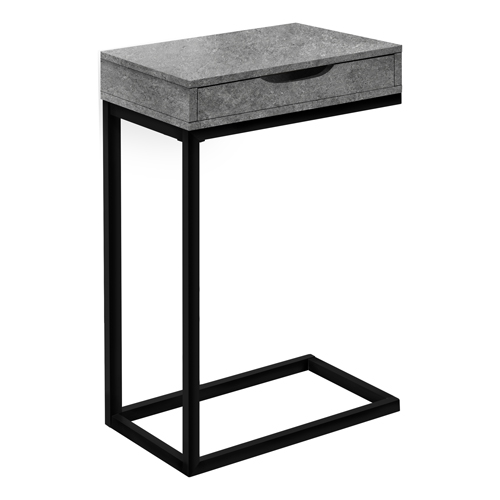ACCENT TABLE - GREY STONE-LOOK / BLACK METAL