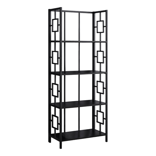 "BOOKCASE - 62""H / BLACK / BLACK METAL ETAGERE"