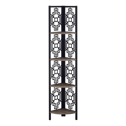 "BOOKCASE - 62""H / DARK TAUPE / BLACK METAL CORNER ETAGERE"