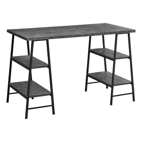 "COMPUTER DESK - 48""L / GREY STONE-LOOK / BLACK METAL"