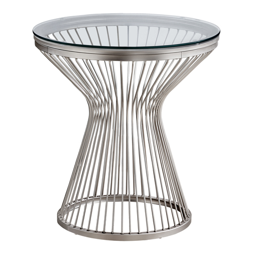 "ACCENT TABLE - 24""H / STAINLESS STEEL WITH TEMPERED GLASS"