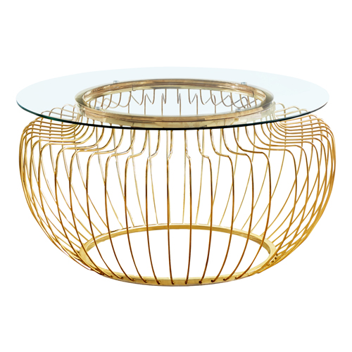 "COFFEE TABLE - 36""DIA / GOLD METAL WITH TEMPERED GLASS"