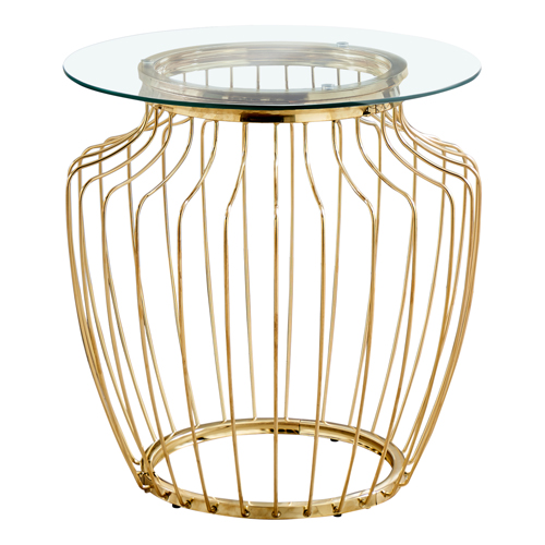 "ACCENT TABLE - 24""H / GOLD METAL WITH TEMPERED GLASS"