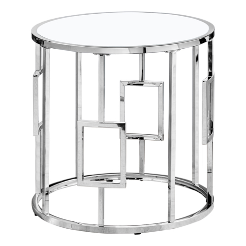 "ACCENT TABLE - 23""H / CHROME METAL WITH TEMPERED GLASS"