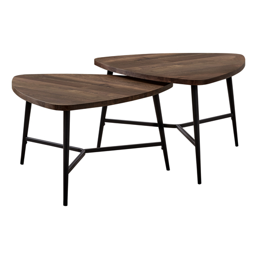 TABLE SET - 2PCS SET / BROWN RECLAIMED WOOD / BLACK METAL