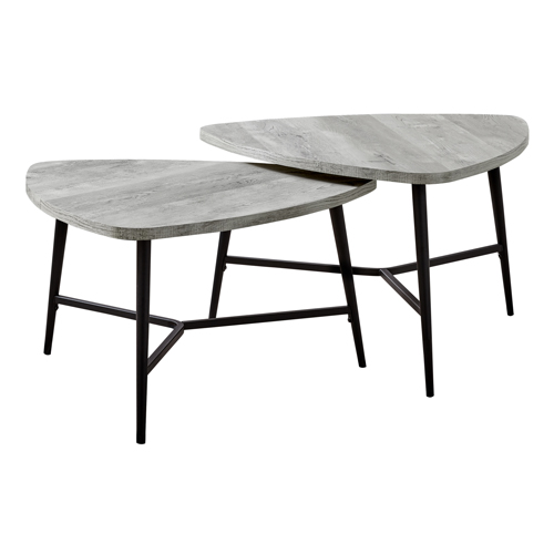 TABLE SET - 2PCS SET / GREY RECLAIMED WOOD / BLACK METAL