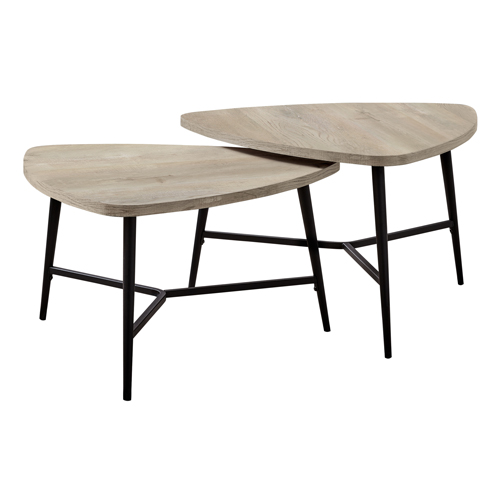 TABLE SET - 2PCS SET / TAUPE RECLAIMED WOOD / BLACK METAL