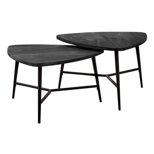 TABLE SET - 2PCS SET / BLACK RECLAIMED WOOD / BLACK METAL