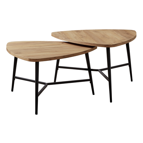 TABLE SET - 2PCS SET / GOLDEN PINE / BLACK METAL