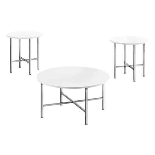 TABLE SET - 3PCS SET / GLOSSY WHITE / CHROME METAL
