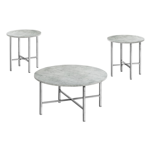 TABLE SET - 3PCS SET / GREY CEMENT / CHROME METAL