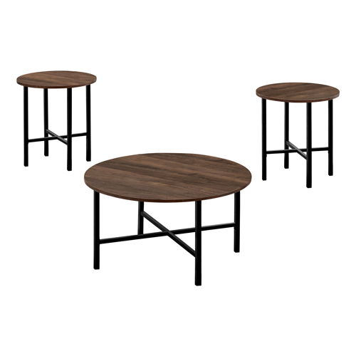 TABLE SET - 3PCS SET / BROWN RECLAIMED WOOD / BLACK METAL