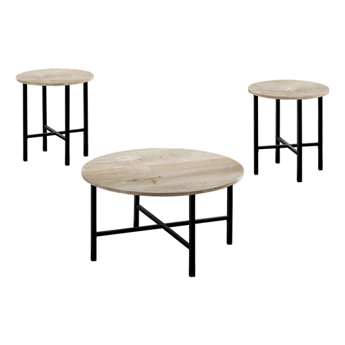 TABLE SET - 3PCS SET / TAUPE RECLAIMED WOOD / BLACK METAL