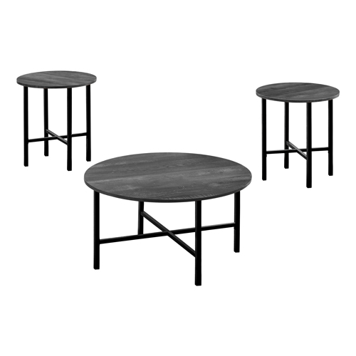 TABLE SET - 3PCS SET / BLACK RECLAIMED WOOD / BLACK METAL