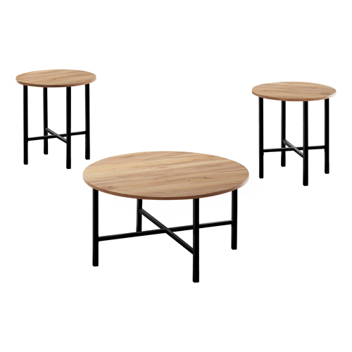 TABLE SET - 3PCS SET / GOLDEN PINE / BLACK METAL