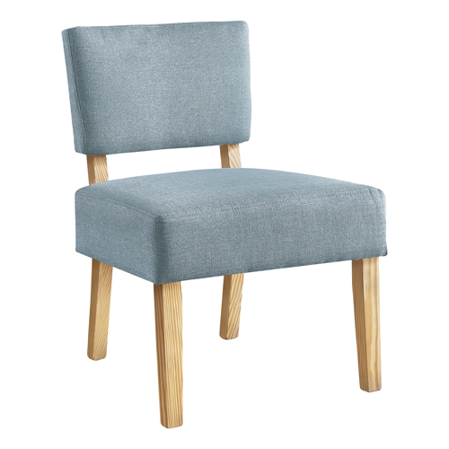 ACCENT CHAIR - LIGHT BLUE FABRIC / NATURAL WOOD LEGS