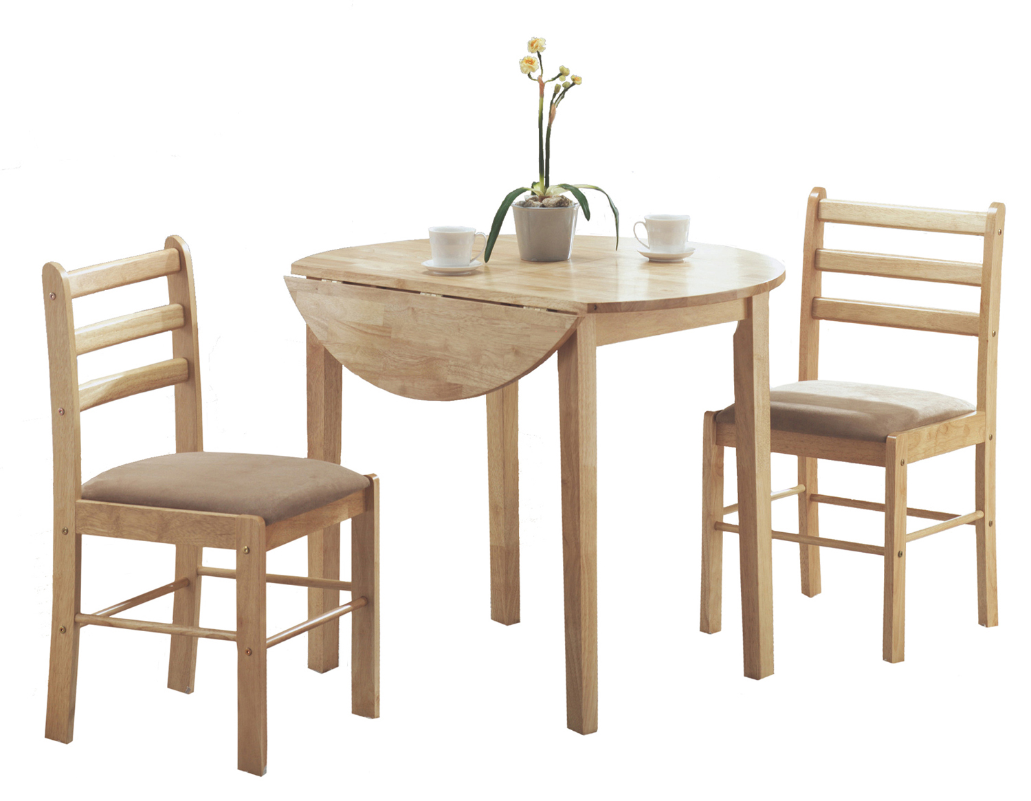 "Dining Set - 3 Pieces Set / Natural With a 36""Dia Drop Leaf"