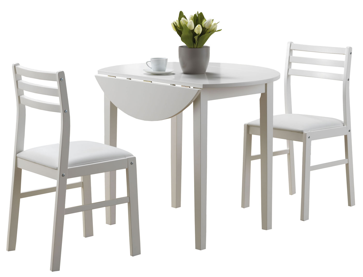 "Dining Set - 3 Pieces Set / White With a 36""Dia Drop Leaf"