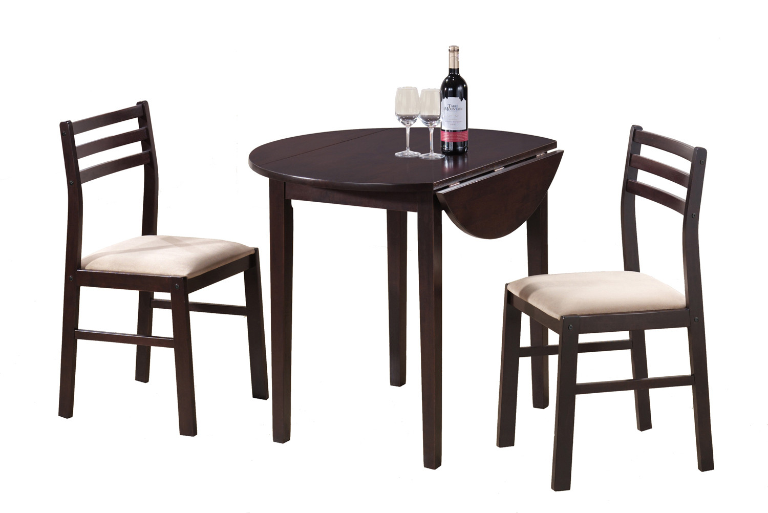 "Dining Set - 3 Pieces Set / 36""Dia / Cappuccino W/ Drop Leaf"