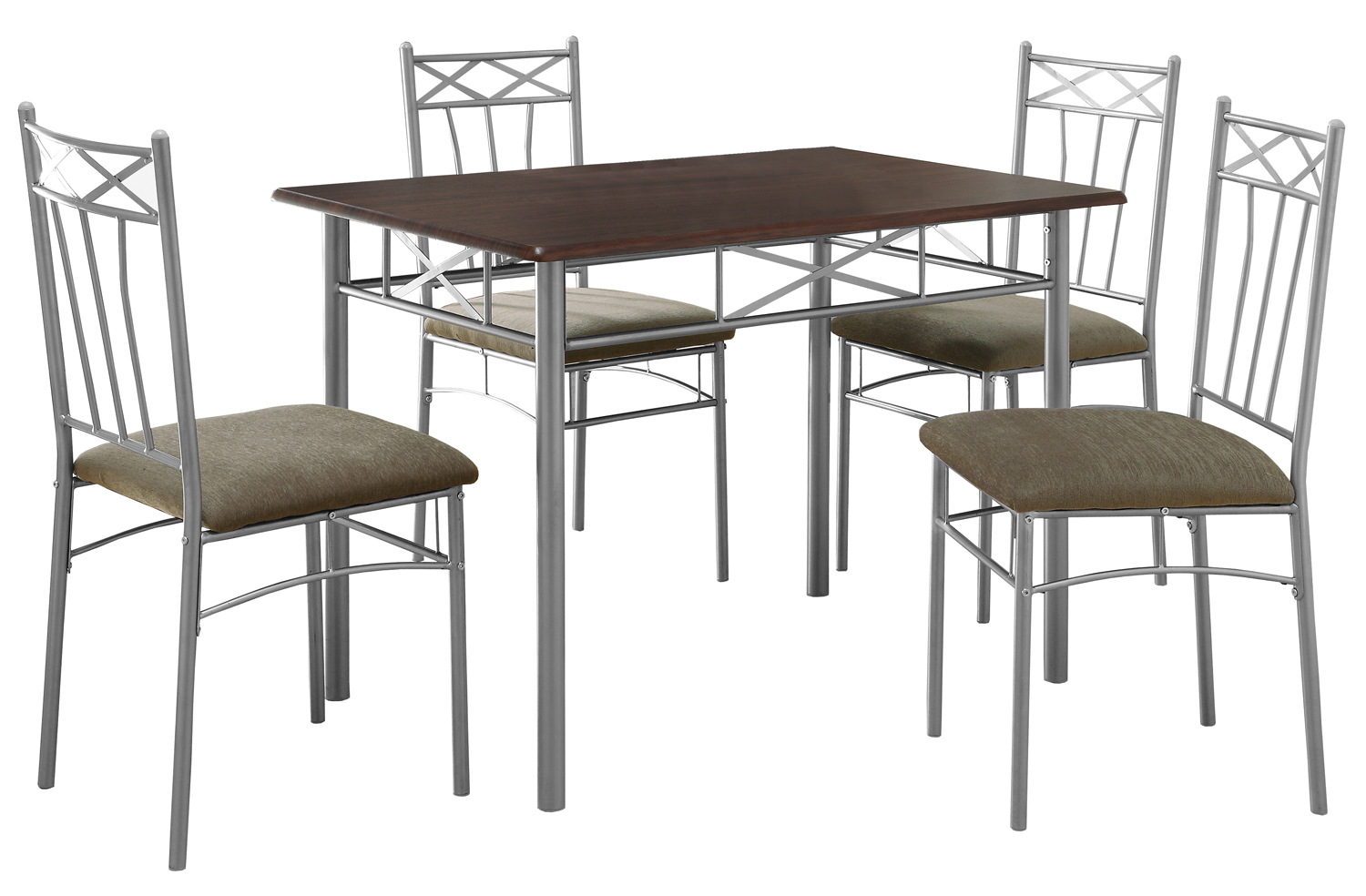 Dining Set - 5 Pieces Set / Cappuccino / Silver Metal