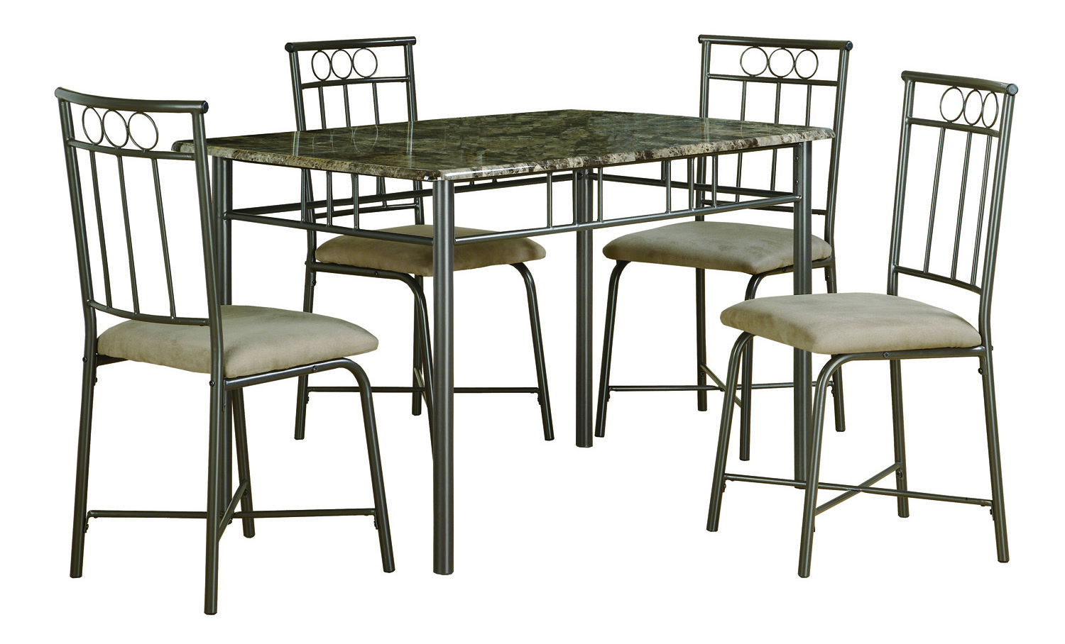 Dining Set - 5 Pieces Set / Cappuccino Marble / Bronze Metal