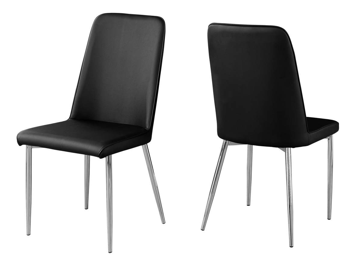 "DINING CHAIR - 2PCS / 37""H / BLACK LEATHER-LOOK / CHROME"