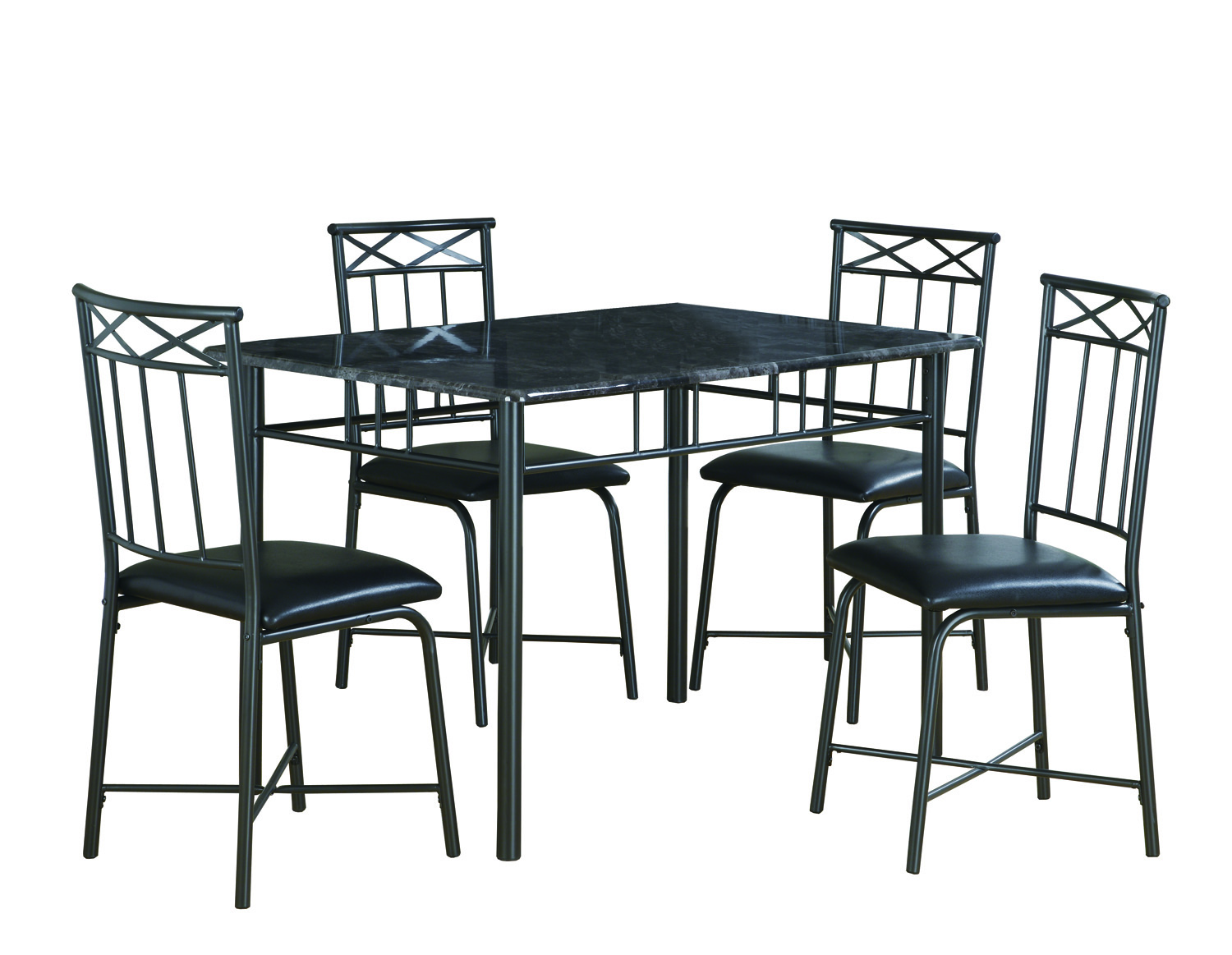Dining Set - 5 Pieces Set / Grey Marble / Charcoal Metal