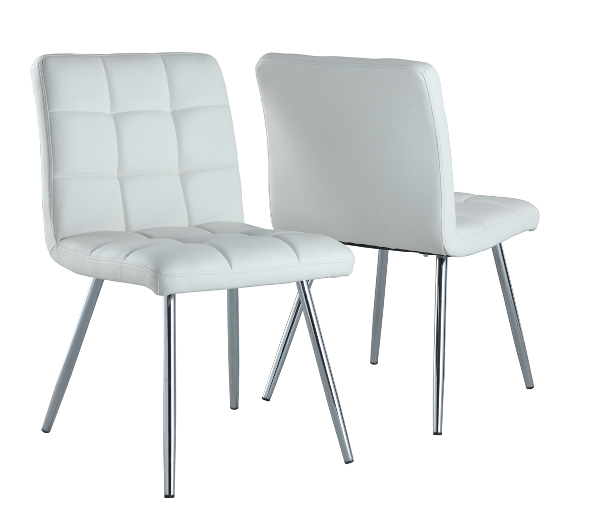 "Dining Chair - 2 Pieces / 32""H / White Leather-Look / Chrome"