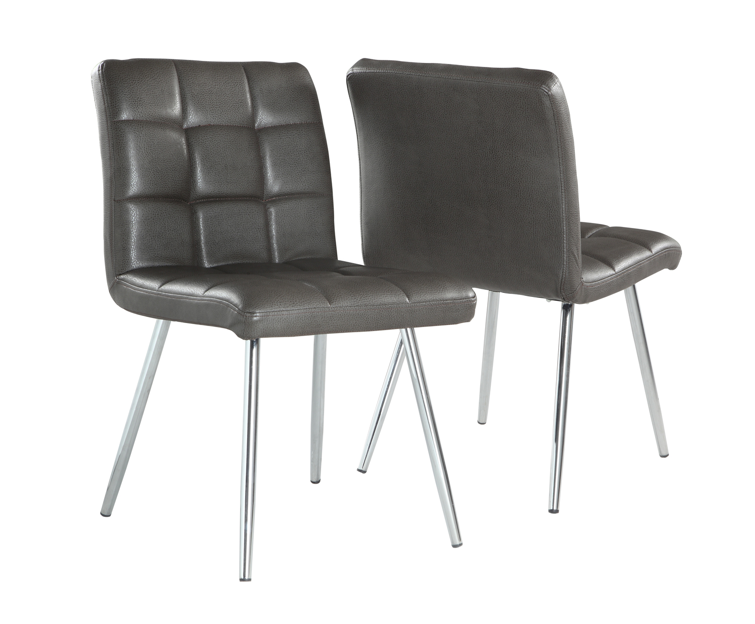 "Dining Chair - 2 Pieces / 32""H / Grey Leather-Look / Chrome"