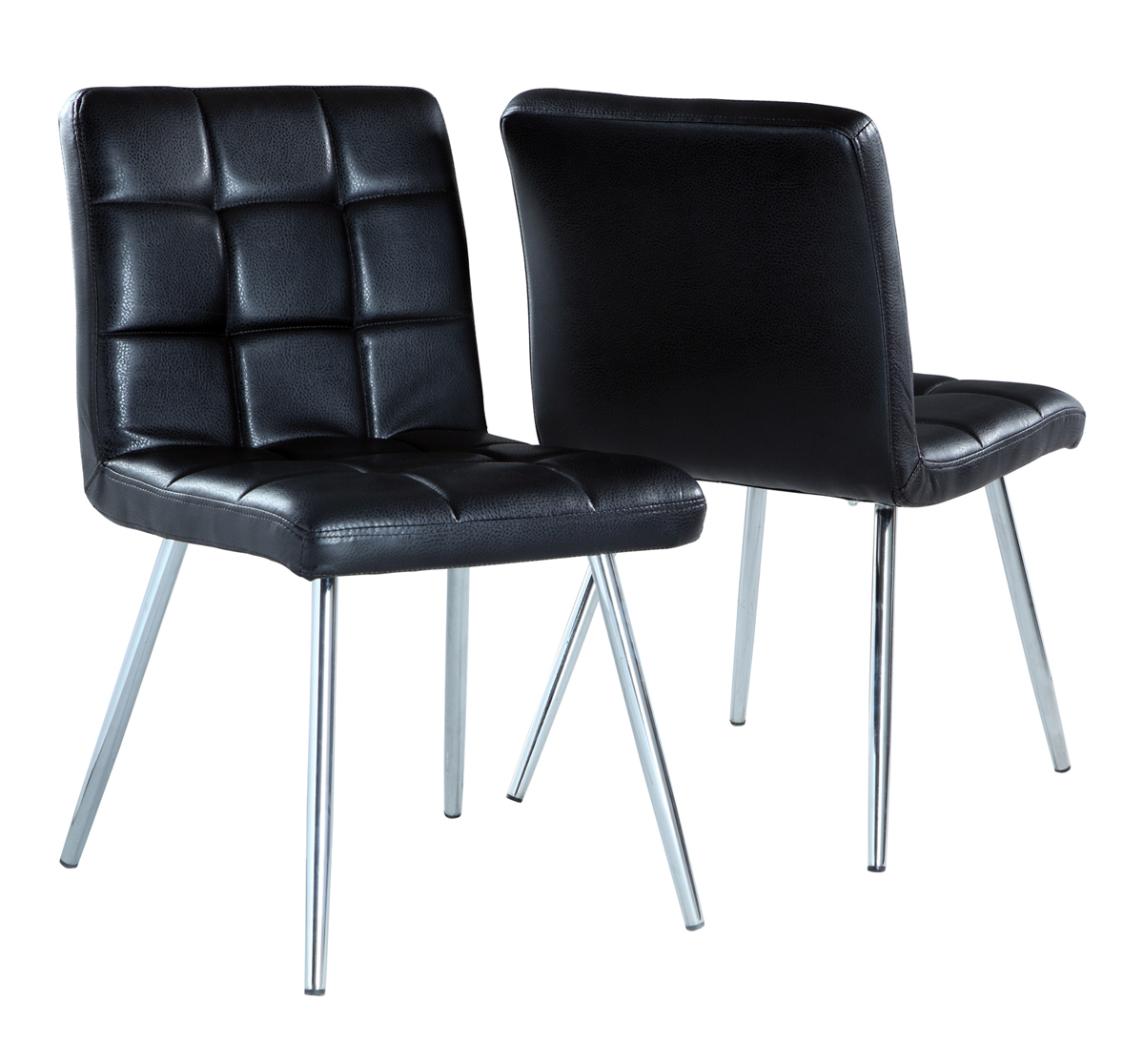 """Dining Chair - 2 Pieces / 32""""H / Black With Chrome Metal"""