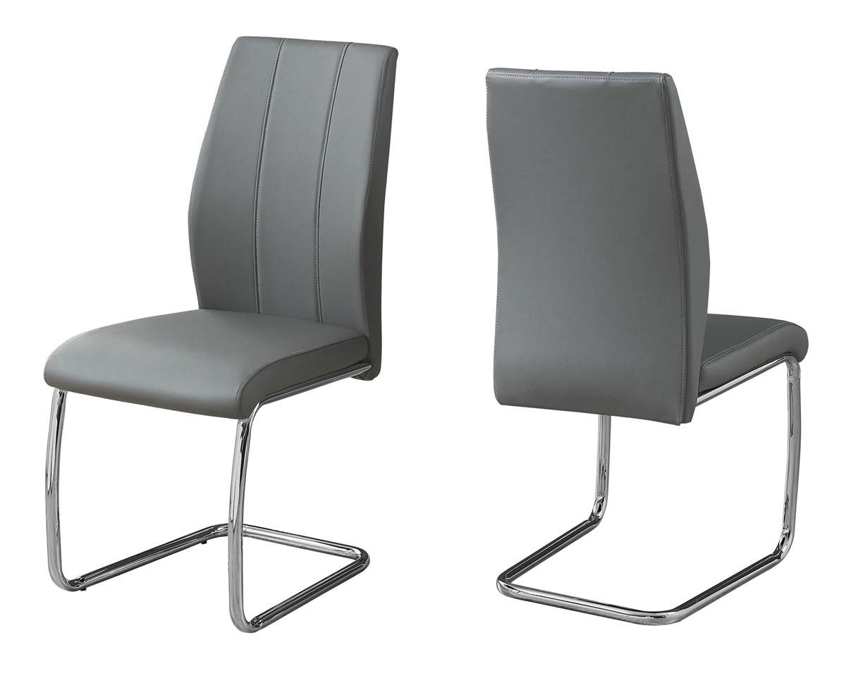 "DINING CHAIR - 2PCS / 39""H / GREY LEATHER-LOOK / CHROME"