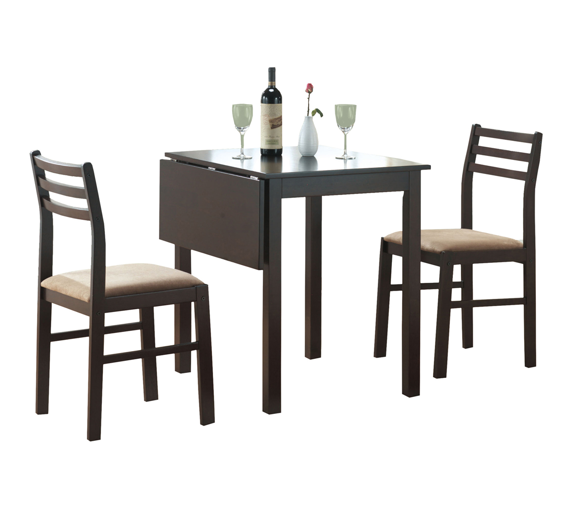 Dining Set - 3 Pieces Set / Cappuccino Solid-Top Drop Leaf