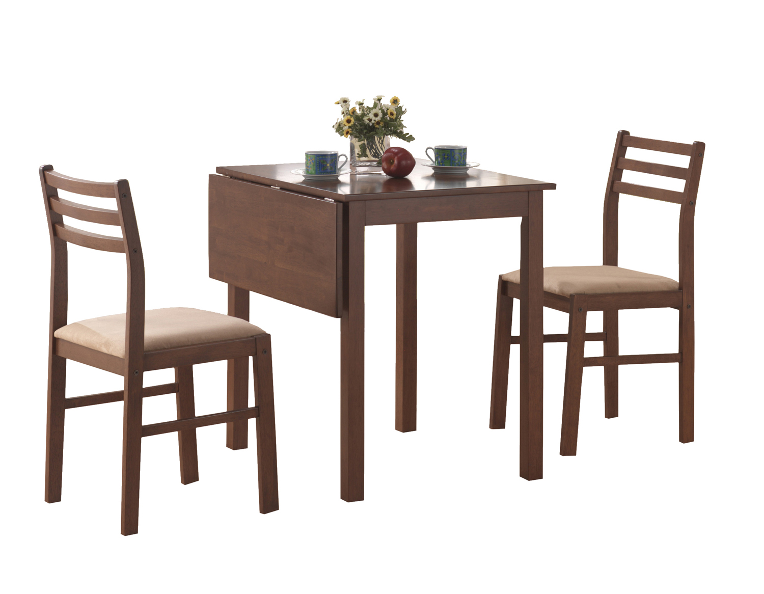 Dining Set - 3 Pieces Set / Walnut Solid-Top Drop Leaf