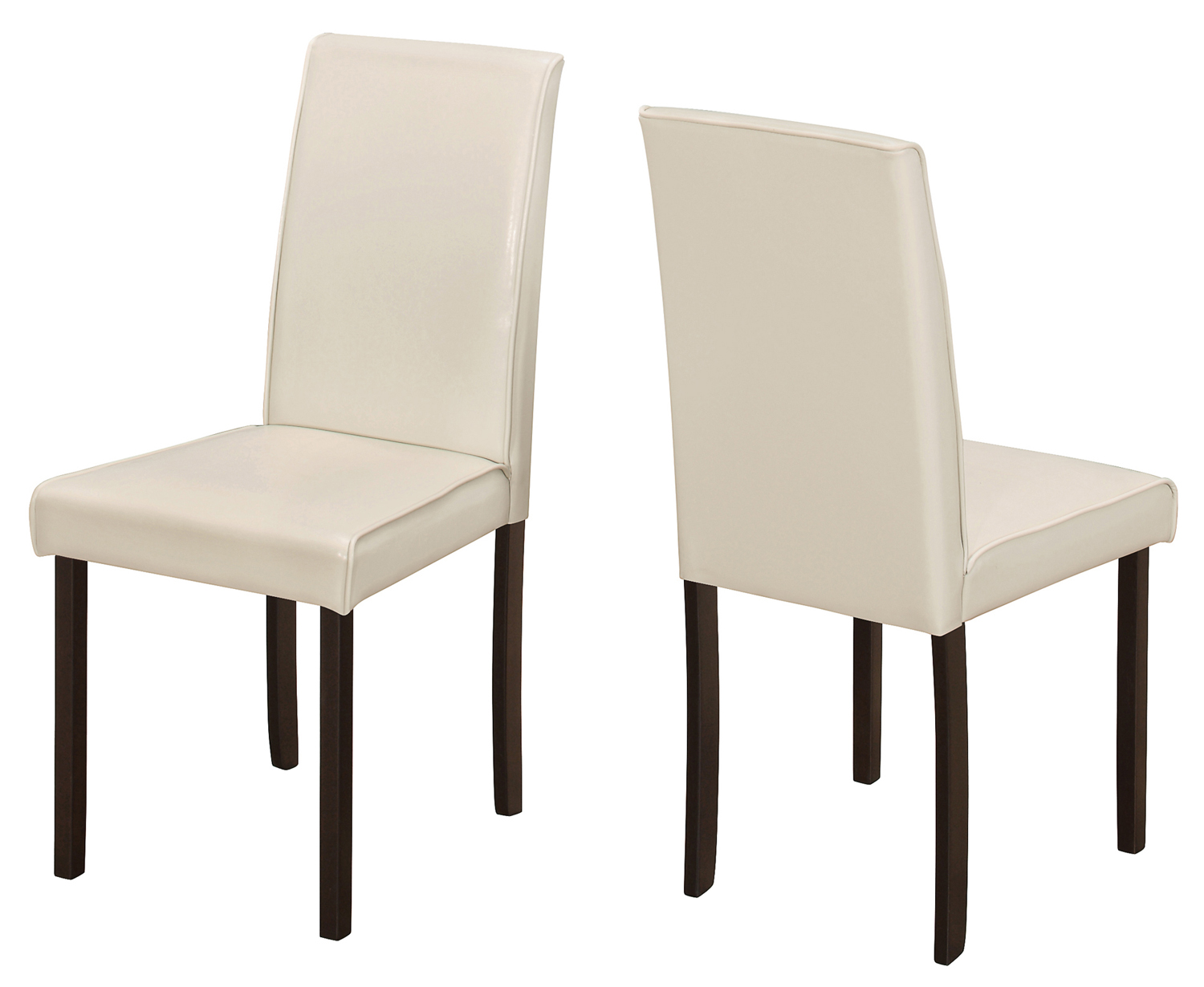 "Dining Chair - 2Pcs / 36""H Ivory Leather-Look"