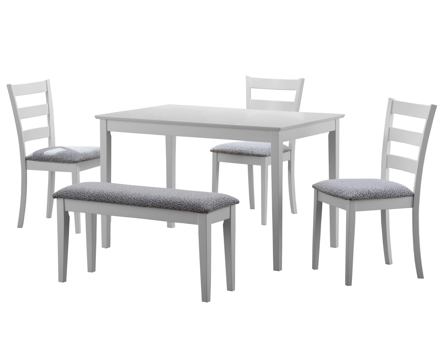 Dining Set - 5 Pieces Set / White Bench And 3 Side Chairs